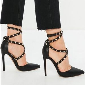 black studded cross strap pointed pumps missguided